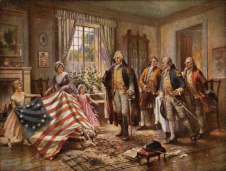 mostrando bandera USA a Whashington