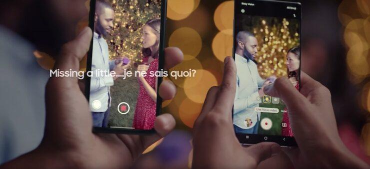 galaxy note 10 vs iphone bokeh video ad
